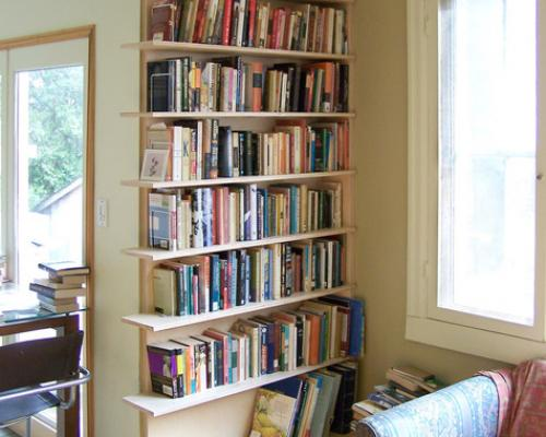 A photo of a book shelf built into a wall, filled with books.